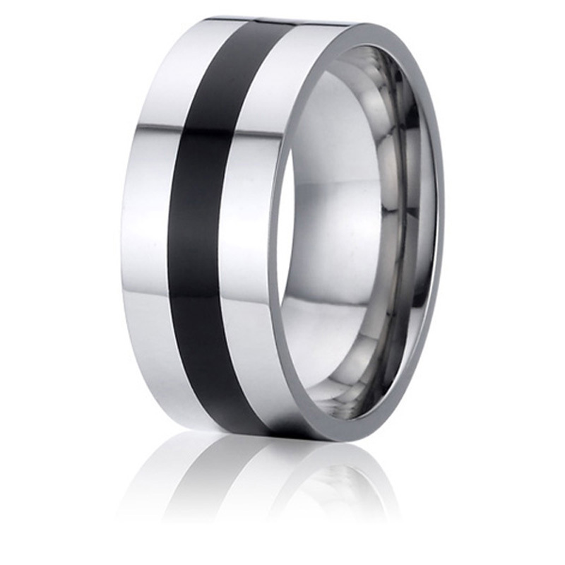 fashion jewellery alliance 8mm mens black wedding band titanium steel ring(China (Mainland))