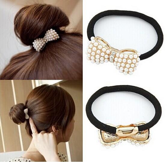Chic Pearl Bow Bungee Elastic Women Hair Band Cute Hair Jewelry Girls Bow Hair Rope Elastic Hair Accessories Free ShippingTS01(China (Mainland))