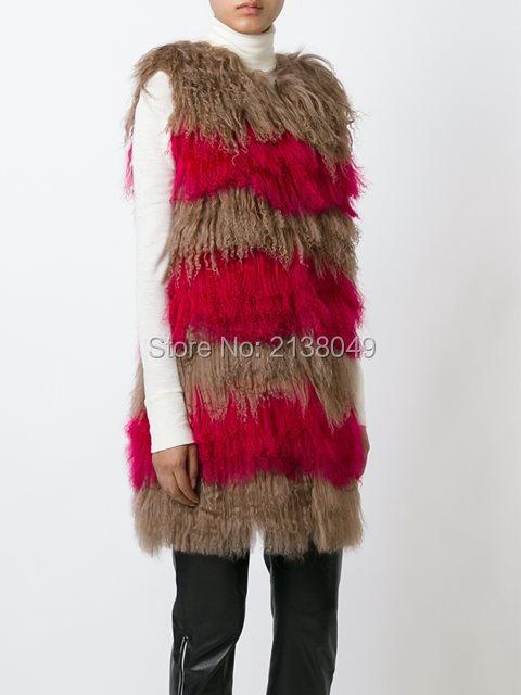 FV046 Новые Поступления хорошая цена оптовая Реального Монголия Овцы Меховой Жилет Женщин Меха Длинный Жилет