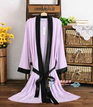 Distress Selling high quality thin models long-sleeved striped modal nightgown men women cotton nightgown summer bathrobe(China (Mainland))