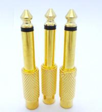 "2Pcs Gold 6.35mm 1/4"" Mono Male Jack to RCA Female Plug Audio Adapter Cable Converter Hot(China (Mainland))"
