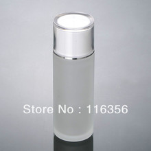 100ML  frosted glass bottle with white lid,  lotion bottle for cosmetic packaging