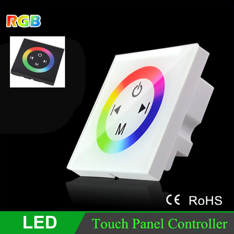 panel RGB LED touch controller 24V 12V DC Black White LED Touch Panel Full-color Controller rgb led strip controller(China (Mainland))