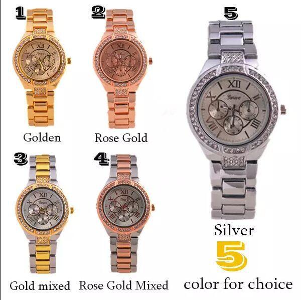 New 2015 Women Dress Watches Geneva Stainless Steel wristwatch women Rhinestone Watch Luxury Casual Relogio women Quartz watch