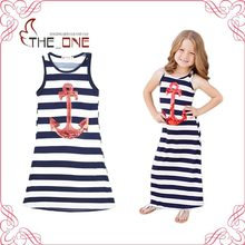 Mother and Daughter Summer Family Matching Outfits Sleeveless Sequins Navy Anchor Striped Girl Dresses Fashion Clothing T517