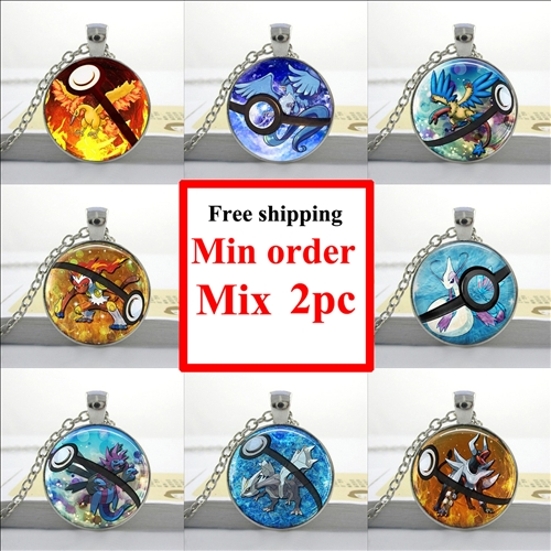 Articuno Pokemon Necklace Moltres Pocketball Pendant Glass Cabochon Necklace Sliver Art Gifts For Girl(China (Mainland))