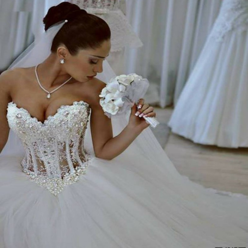 Romantic wedding dresses 2015 short cap sleeves bridal for Lace button back wedding dress