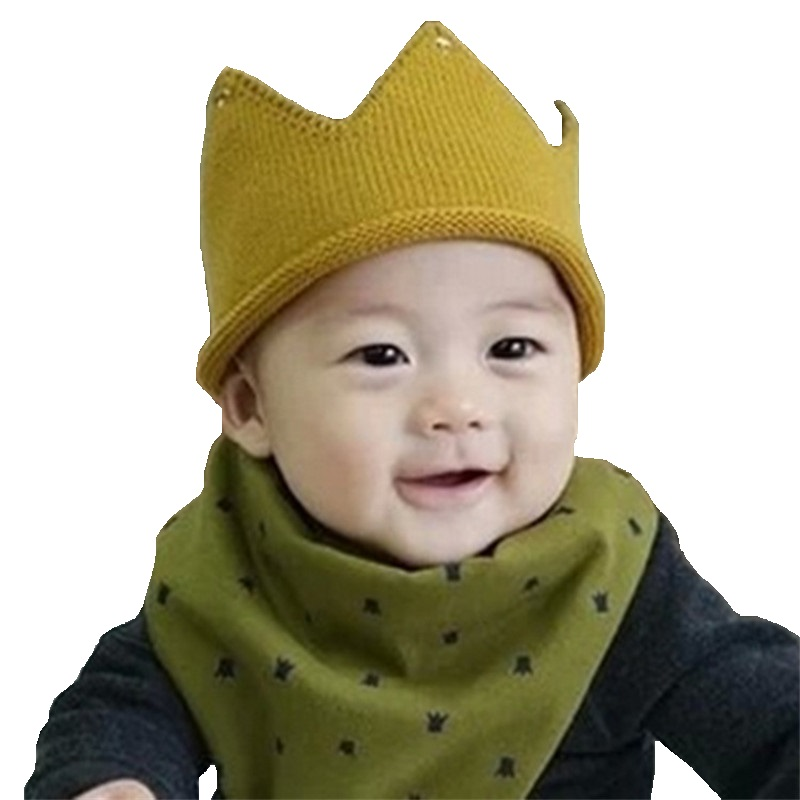 Baby bibs bandana Cotton scarf baby girl bibs Cute Crown Printing Burp Cloths baby boy bibs double side all can wear(China (Mainland))