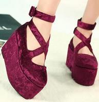 new 2014 brand princess round toe wedge platform lolita shoes japanese uniform pumps 8.5 cm high heels single shoes
