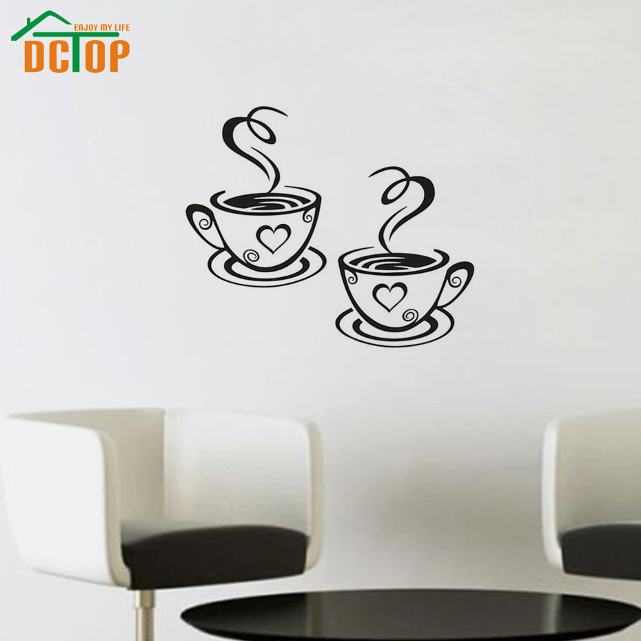 Double Coffee Cups Wall Stickers Room Decoration Vinyl Art Wall Decals Adhesive Stickers On The Kitchen(China (Mainland))