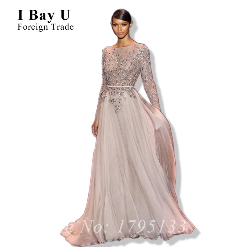 Tarik Ediz Dresses Long Sleeve Evening Gown Sheer Lace Women's Wear Evening Gowns Pregnant Prom Dresses Large Evening Dress(China (Mainland))