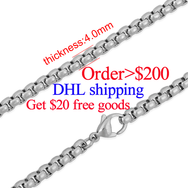 20pcs/lot 4mm Thick Fashion Gift Stainless Steel Lobster Clasp Necklace Women Jewelry Necklace Bijoux Match European Beads(China (Mainland))