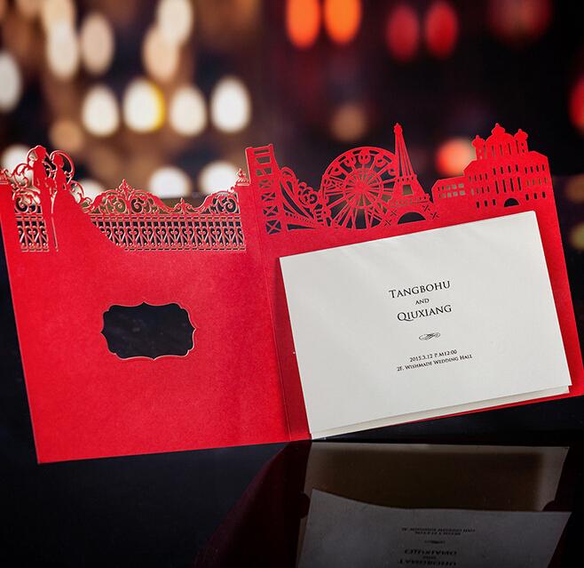 Aliexpress.com Comprar 100 unids/lote Vintage estilo chino Tradtional castillo rojo invitaciones de boda con Laser cut novia y del novio barato invita,
