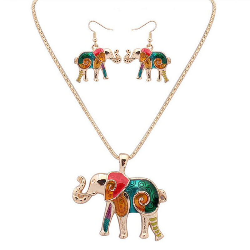Colorful Enamel Elephant Jewelry Sets For Girls Gold Plated Animal Elephant Necklace Earring Set Unique Ethnic Jewelry(China (Mainland))
