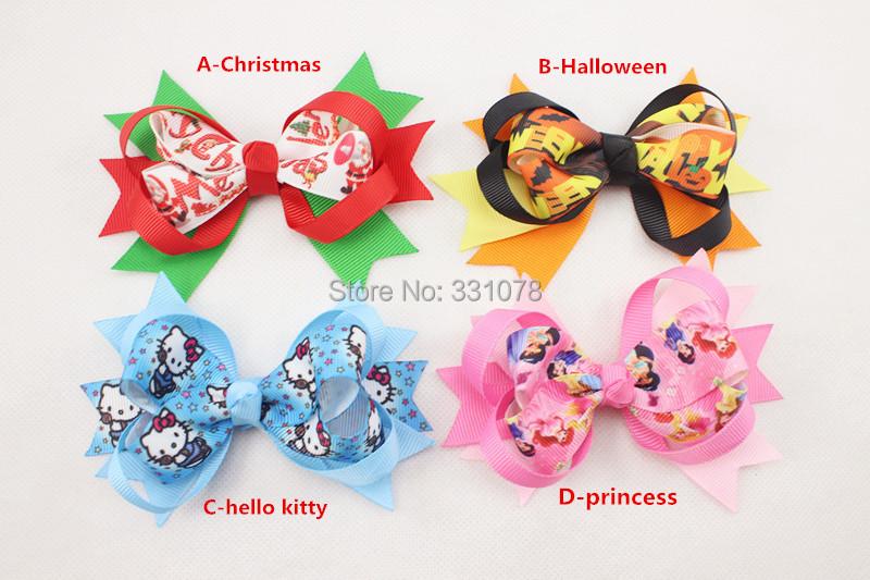 baby Christmas Hair Bow Halloween Boutique Hair Bow princess hello kitty baby Christmas Hair Accessories 300pcs/lot FreeShipping(China (Mainland))