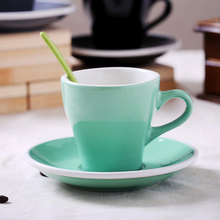Cermaic Teacup and Saucer Coffee Cup set Milk With Dish Spoon Mint Grey Black White Plain 160ml