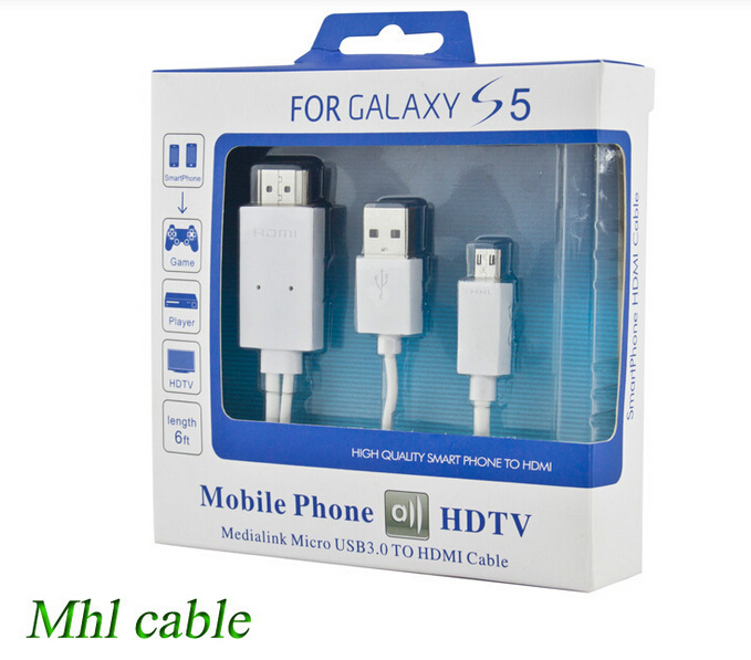 New 1080P MHL Micro USB To HDMI Adapter HDTV MHL Cable For Samsung Galaxy S5 S4 S3 I9500 i9300 Note2 Note 3 N9000 Tab S Tab S(China (Mainland))