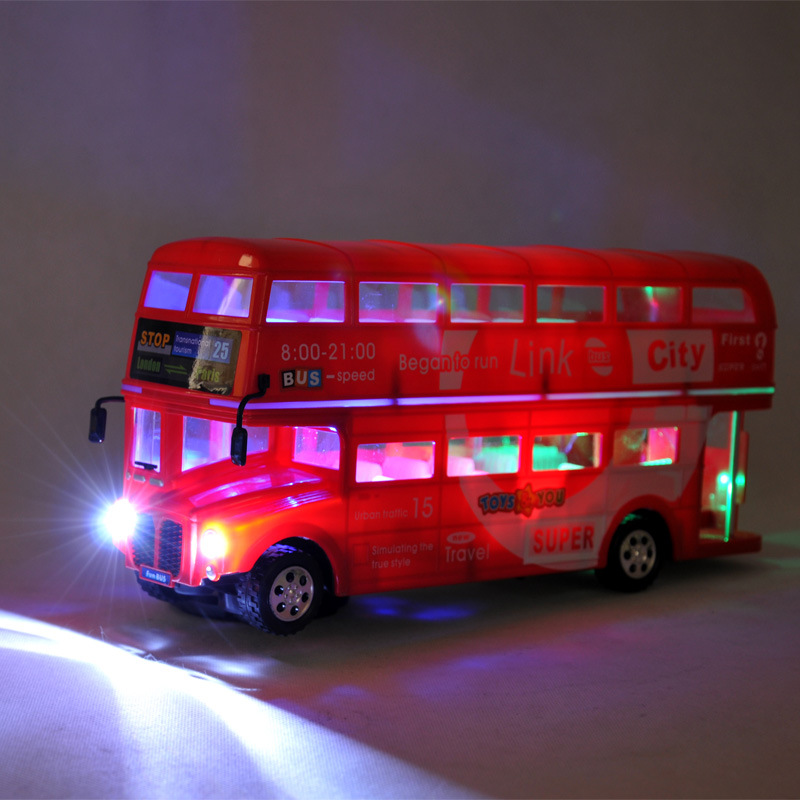 Child's Toy Plastic City Double Layer Bus Car Model Bus Toy With Sound and Light,Gift for Kids(China (Mainland))