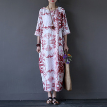 Buy Chinese style Vintage Print Women Long Dress O-neck Loose Casual Plus size Summer Maxi Dress Oversized Robe Longue Femme A061 for $22.80 in AliExpress store