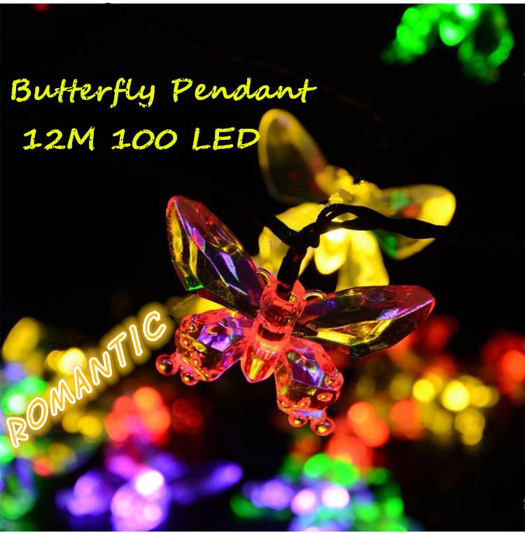 BUTTERFLY pendant Novelty Outdoor lighting 12M 100 Leds Solar string lamps La luz solar Christmas Lights fairy wedding garden(China (Mainland))