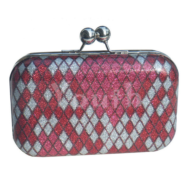 Многоцветный плед искусственная кожа вечерняя сумочка металлический каркас клатч ватные кошелек сумочка с плеча цепь для выпускного вечера и ну вечеринку - DT016