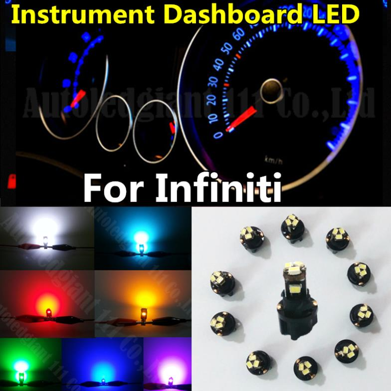 10x Green White Blue Red Yellow Ice Blue Dashboard Light T5 LED With Socket Instrument Cluster Panel Light Bulb For Infiniti(China (Mainland))