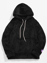 ZAFUL ผู้หญิงฤดูหนาว Hoodies เสื้อทึบกระเป๋า Fluffy ผู้ชาย Pullover กระเป๋า Streetwear Hoodie ชาย Hooded Sweatshirt TOP(China)