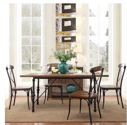 Nordic Iron LOFT rural French retro dinette combination of solid wood, wrought iron dining table restaurant(China (Mainland))