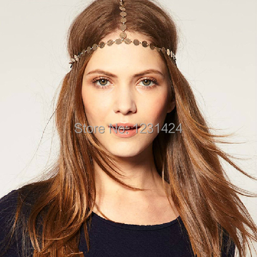 Sexy Gypsy Style Punk Fashion Boho WOMEN GOLD Sequins/Frosted Head Chain Jewelry Headband Head Piece Elastic Hair Band A00020(China (Mainland))