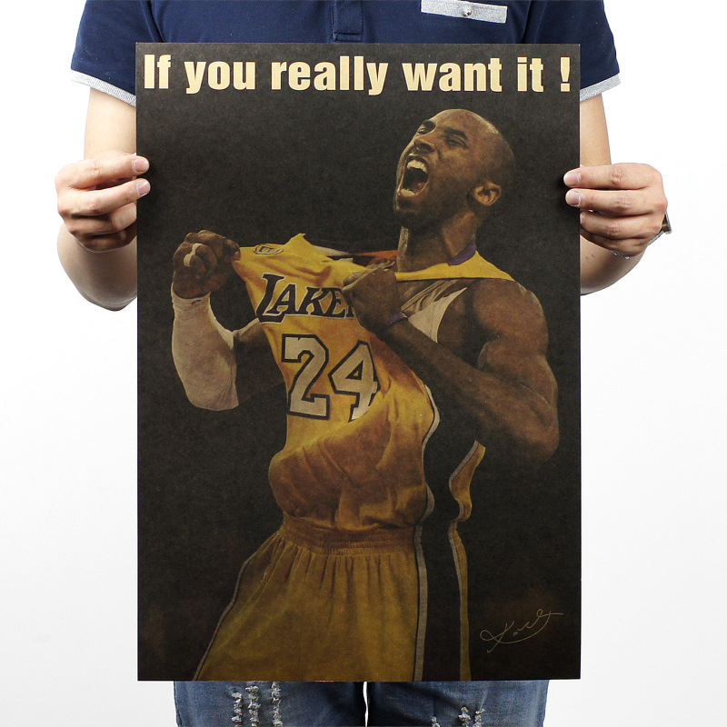51x35.5cm Kobe / NBA basketball / Kraft poster/ brown paper / bar coffee shop decoration painting(China (Mainland))