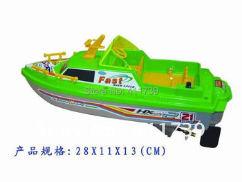 Free shipping 2pcs/lot  ABS material Supernova Sales Plastic hot sale 4CH remote control green boat 28cm long boat