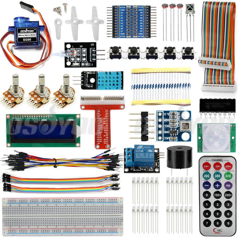 Ultimate Starter Kit 1602 LCD SG90 Servo LED Relay Resistors for Raspberry Pi 3 Leaning Kit for Raspberry Pi(China (Mainland))