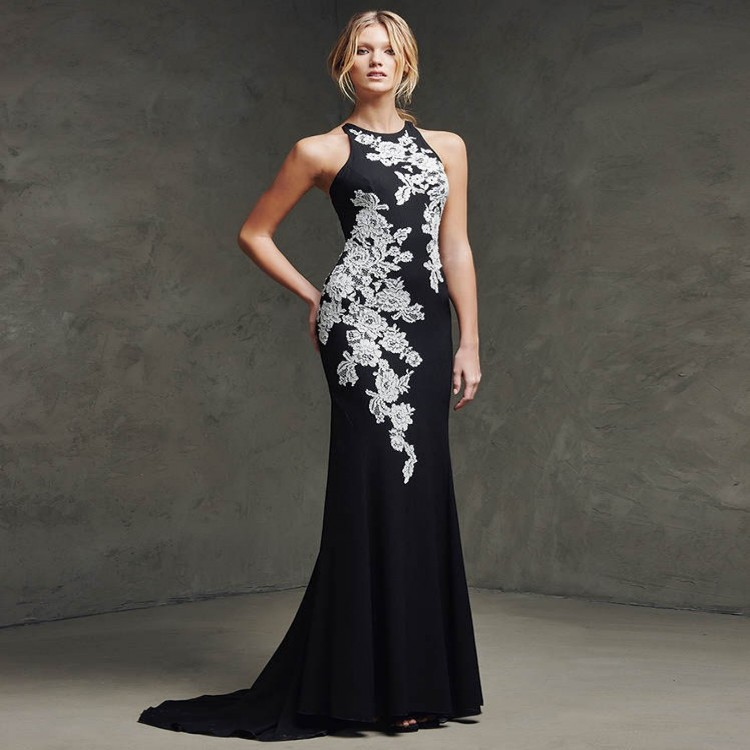 Robe De Soiree 2015 New Arrival Elegant Mermaid Black Chiffon With Embroidery Sexy See Through Back Long Evening Dress(China (Mainland))