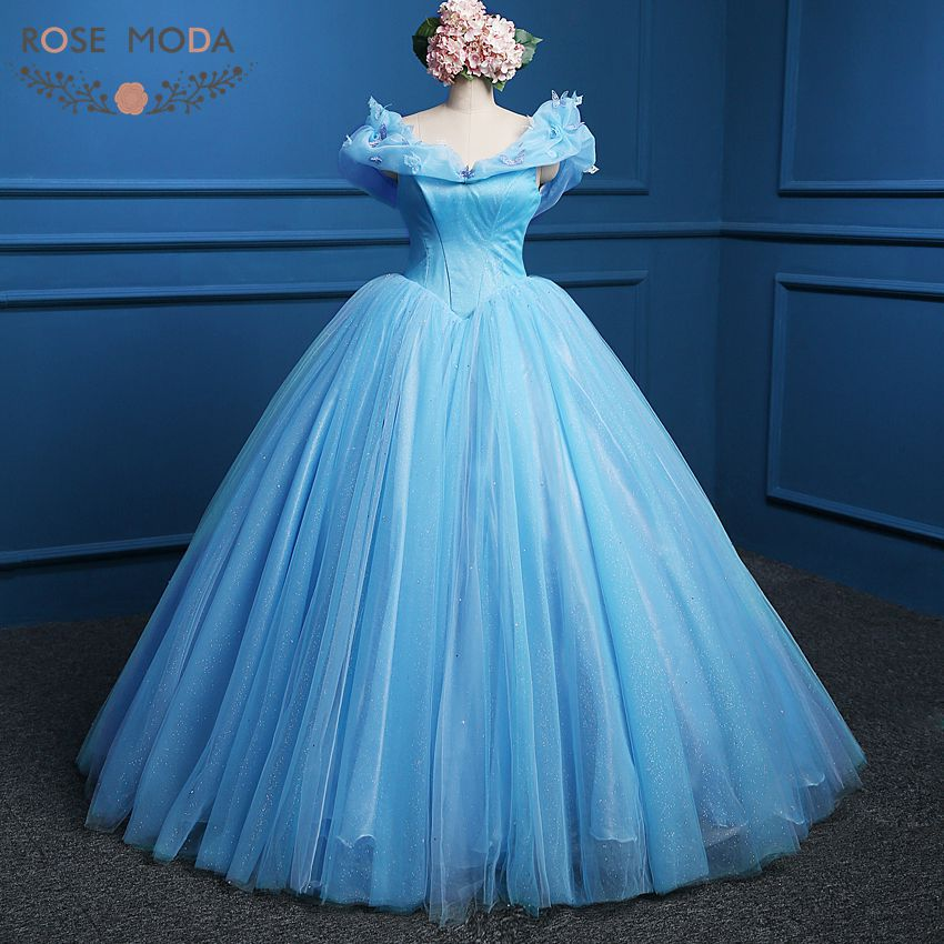 Blue Cinderella Prom Dress 2015 New Movie Cosplay Costume Ball Gown Party Dresses Real Photo