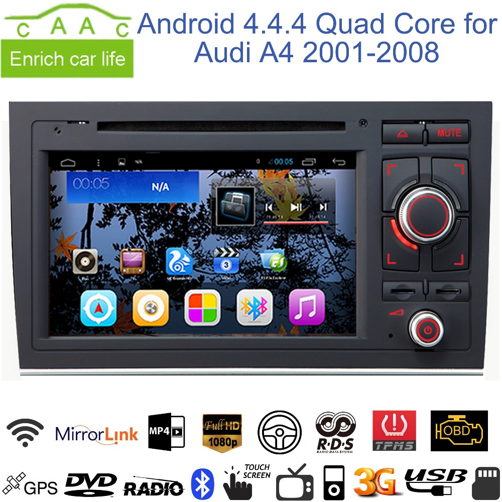 """Android 4.4.4 Quad Core 1024*600 GPS Navigation 7"""" Car DVD Player for Audi A4 2001-2008 with Bluetooth/RDS/Canbus/SWC/Mirrorlink(China (Mainland))"""