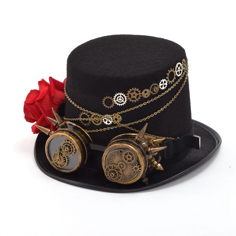 Unisex Steampunk Gears Floral Black Top Hat with Glasses Decoration