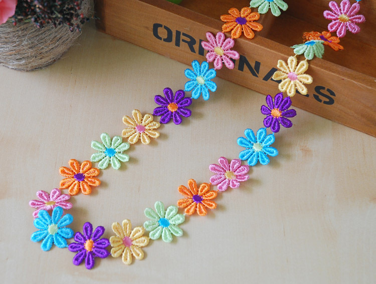 3CM Cute Children Baby Girl Colorful Sunflower Lace Flowers diy made handband ,15Y48626(China (Mainland))