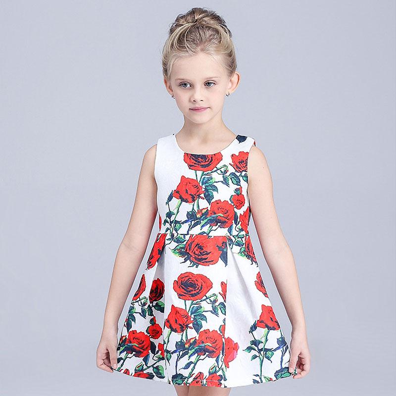 Princess Dress Girls Clothes 2015 Brand Baby Girls Dress Character Pattern Kids Dresses for Girls Sleeveless Princess Costume(China (Mainland))