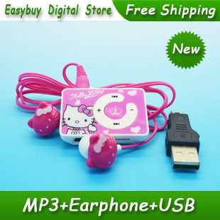 High Quality Mini Hello Kitty MP3 Music Player Clip MP3 Players Support TF Card With Hello KItty Earphone&Mini USB(China (Mainland))