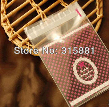 """Bakery Goodies / Small Cellophane Favor Gift Mini Bags, Self Seal Party Packaging, """"Pink Polka Dot & White Lace Trim Print"""""""