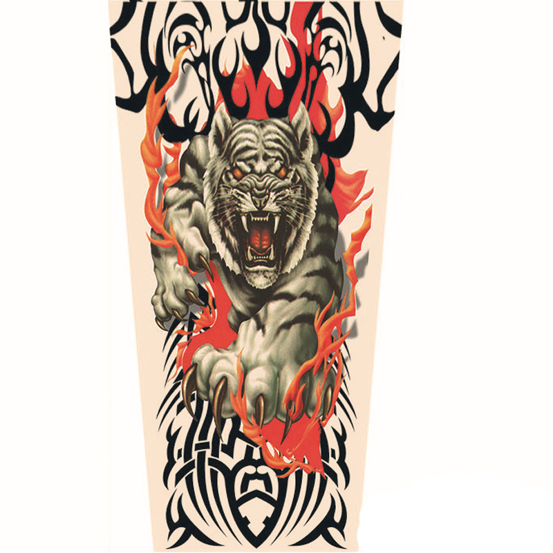 1 Pair 3D Animal Printed Totem Unisex Man Fashion Fake Tattoo Elastic UV Protection Cool Arm Warmers Sun-proof Tattoo Sleeve(China (Mainland))