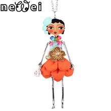 Newei doll necklace dress coral trendy new 2015 acrylic alloy cute girl women flower figure pendant fashion jewelry accessories
