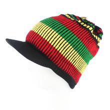 Bob Marley Jamaica Rasta Beanie Hat Warm Cap Winter Reggae Multi-colored Stripe Hip Hop Visor CapRH-003(China (Mainland))