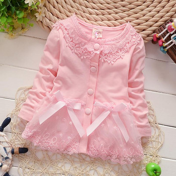 Cute Fashion Girls 100% Cotton Jackets Cardigan Baby kids Coat Children clothing Bow Lace Outwear Coats Y1327