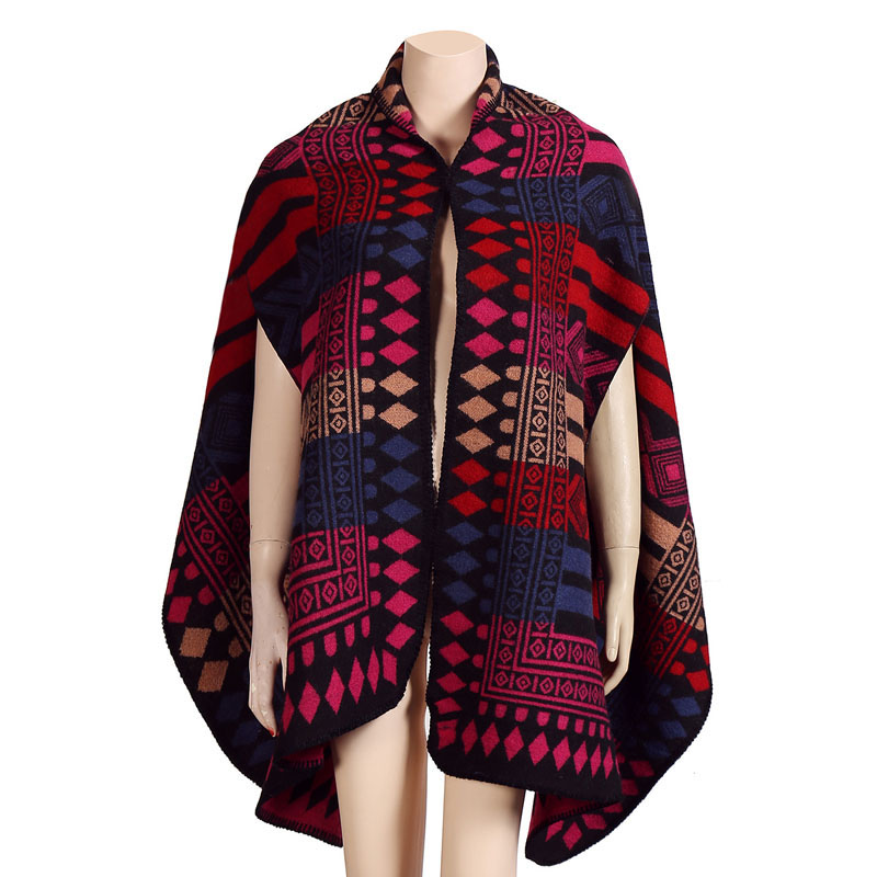 2016 Winter Blanket Poncho with Sleeve Women Plaid Cashmere Cape Pashmina Shawls and Scarves Z-2242()