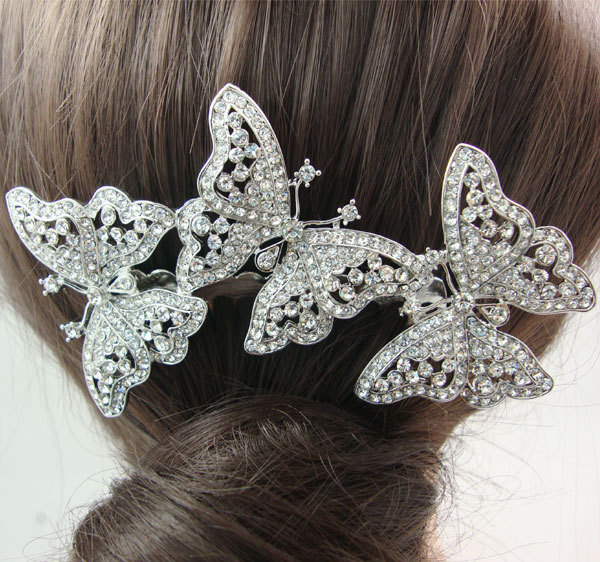Gorgeous Bridal Hair Accessories 3 Butterfly Bridal Comb Rhinestone Crystal(China (Mainland))