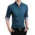 2016 100 Top Quality Men Dress Shirts Blue Plaid Shirt Men Causal Striped Shirts Men Camisa