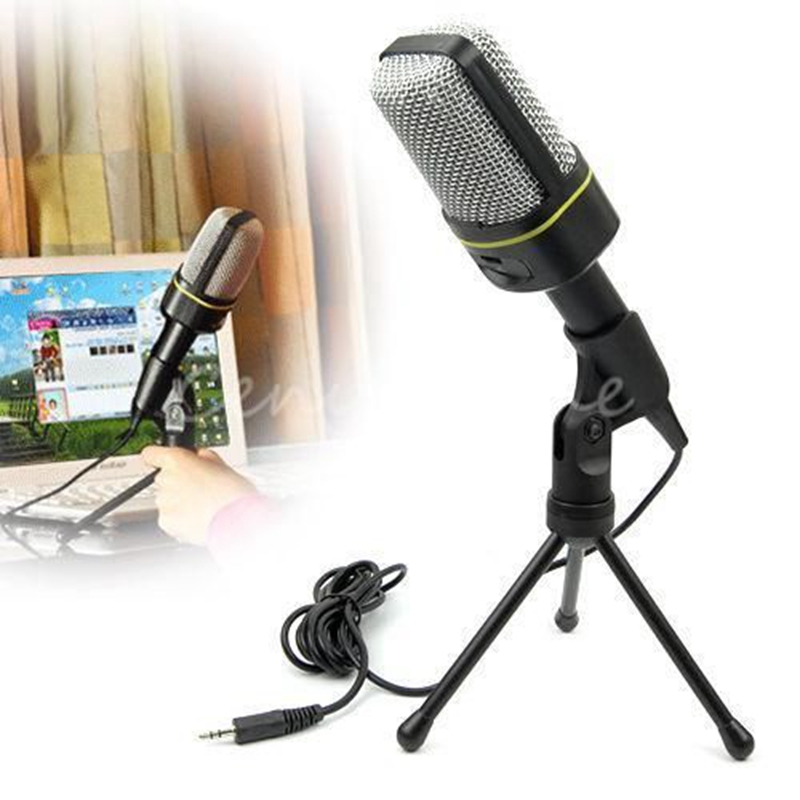 100% Brand New Multimedia Sing Studio 3.5mm Condenser Wired Computer Microphone Mic+Tripod Stand for PC Laptop Notebook(China (Mainland))