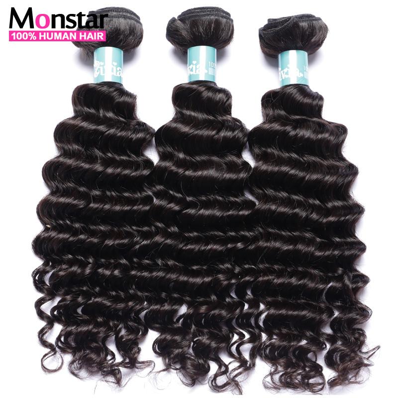 7A Grade Brazilian Deep Wave Virgin Hair Bundles 3Pcs Lot Brazilian Curly Weave Human Hair Weft Extensions No Shedding No Tangle(China (Mainland))