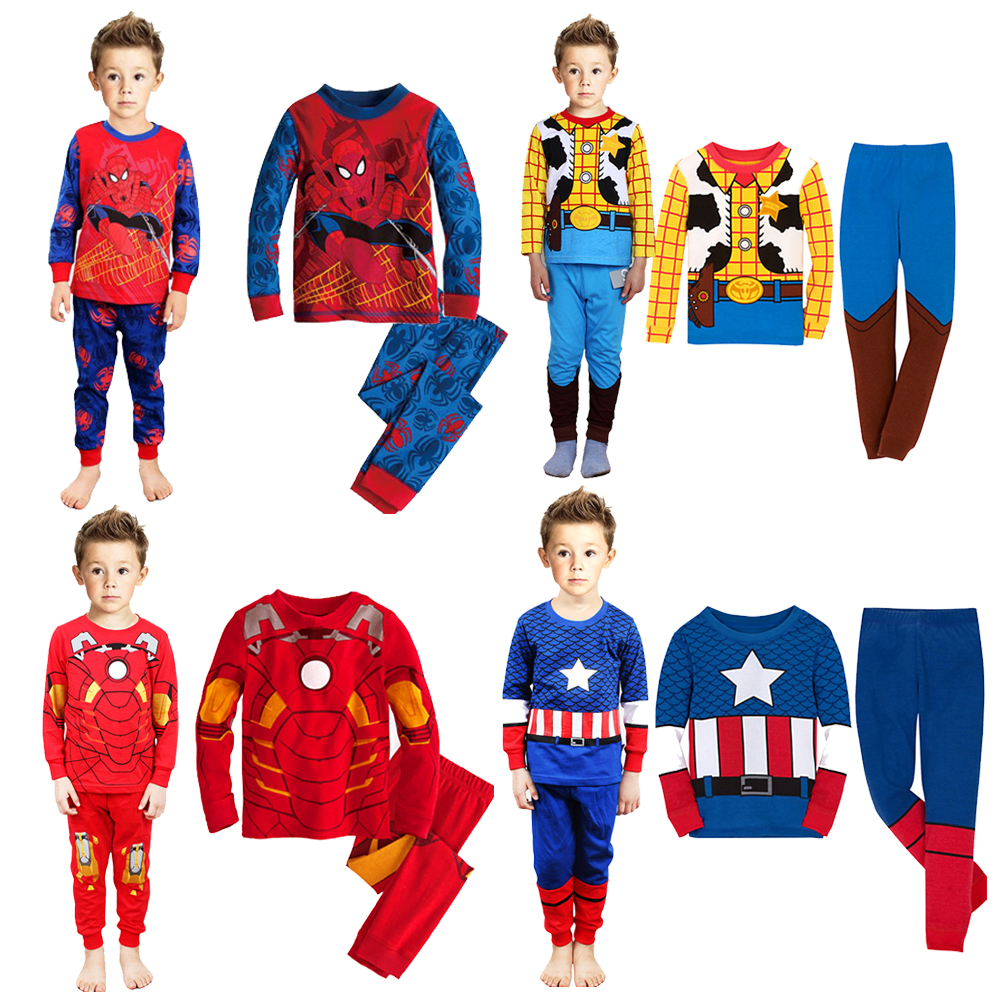 Kids Boys Pajamas Sleepwear Clothes Sets Long Sleeve Cotton Super Heros Ironman Batman Spiderman Captain America - A&J Design store